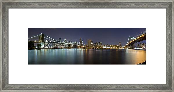 Manhattan At Night Panorama 2 Framed Print