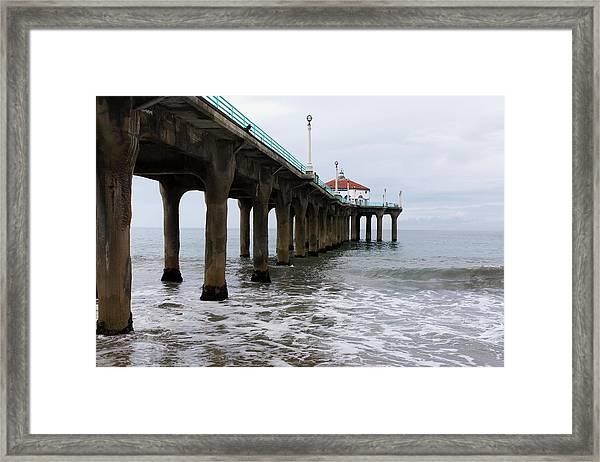 Framed Print featuring the photograph Manhattan Beach Pier by Lorraine Devon Wilke