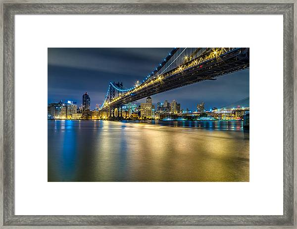 Manhattan Bridge And Downtown Brooklyn At Night. Framed Print
