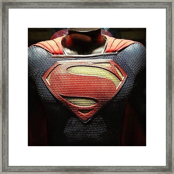 #manofsteel #superman #costume Framed Print