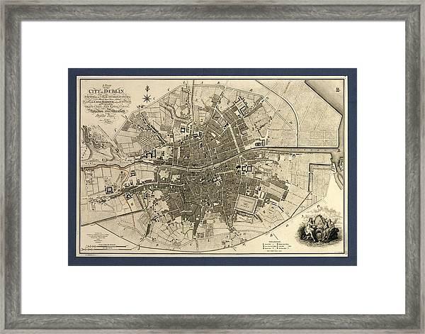Map Of The City Of Dublin, 1797 Framed Print
