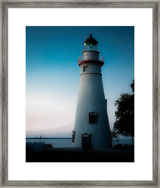 Marblehead Lighthouse Dusk Framed Print by John Traveler