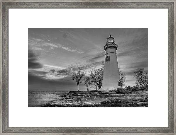 Marblehead Lighthouse In Black And White Framed Print