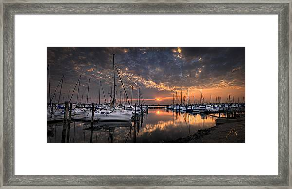 Framed Print featuring the photograph Marina At Fort Monroe by Williams-Cairns Photography LLC