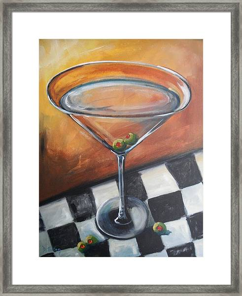 Martini On Checkered Tablecloth Framed Print