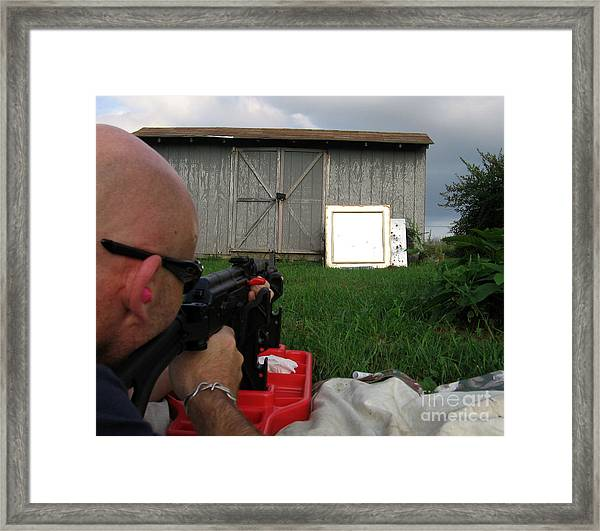 Me Shooting 'the World Is Yours' See Description Framed Print