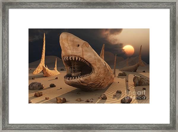 Megalodon Desert Framed Print