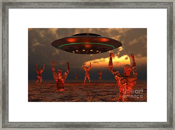 Men Born Of Molton Lava From The Core Framed Print