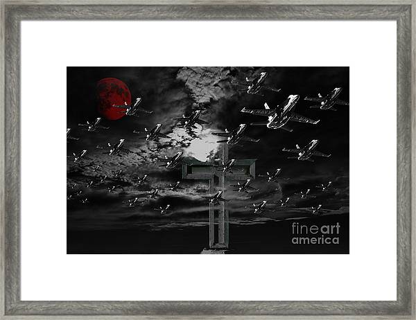 Midnight Raid Under The Red Moonlight Framed Print by Wingsdomain Art and Photography