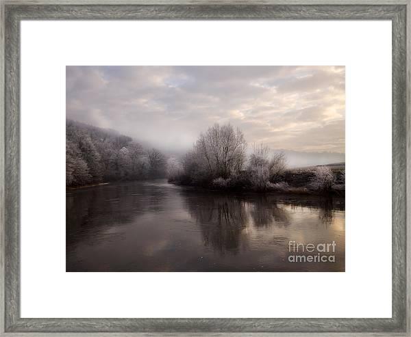Misty Sunset Framed Print by Angel Ciesniarska