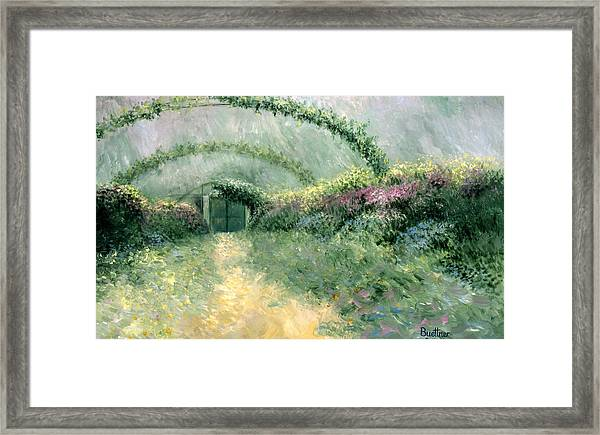 Framed Print featuring the painting Monet's Trellis IIi by Lynn Buettner