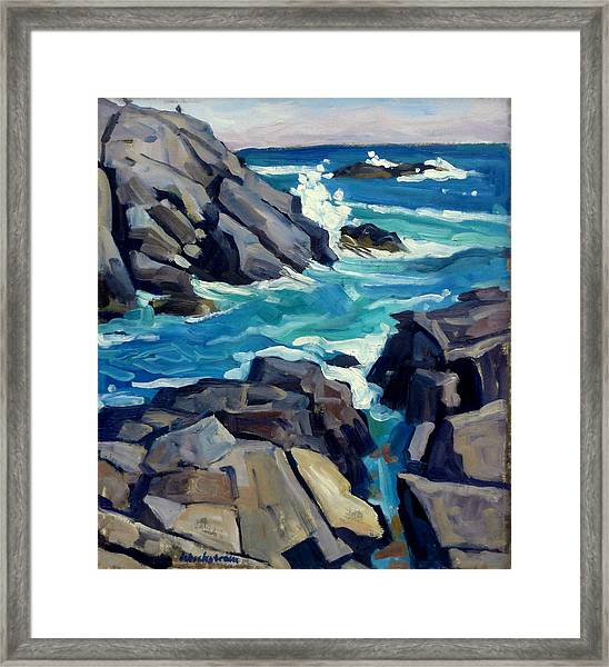 Monhegan Surf Maine Seascape Framed Print