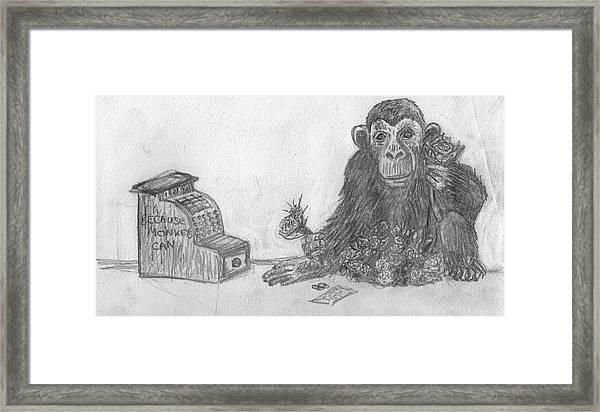 Monkey Florist Framed Print