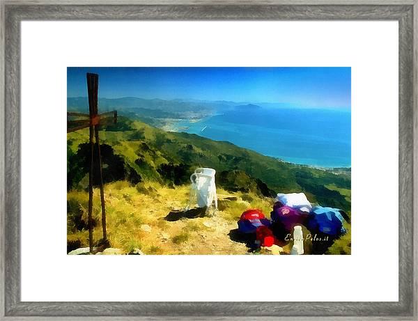 Monte Rama E Panorama Su Genova Framed Print