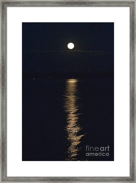 Moon Over Seneca Lake Framed Print