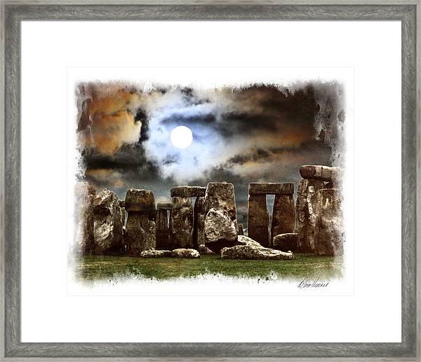Moon Over Stonehenge Framed Print