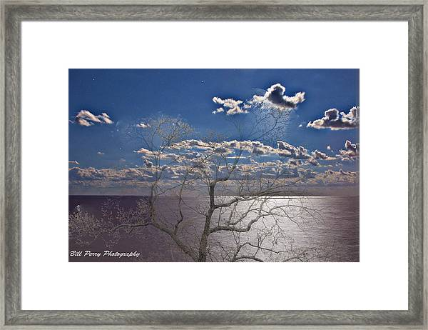 Moon Over The Water Framed Print by Bill Perry