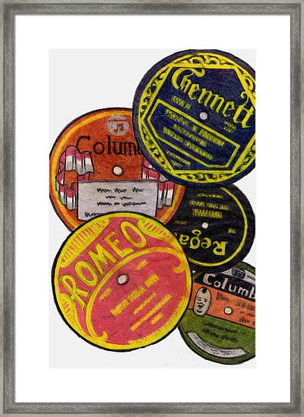 More Old Record Labels  Framed Print