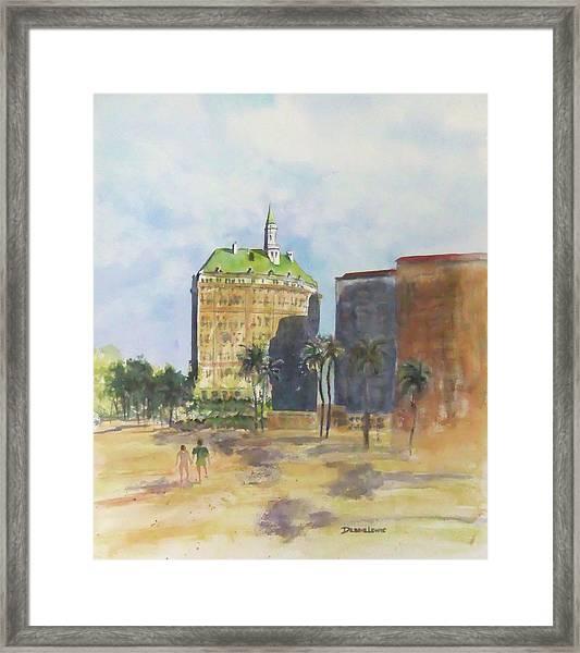 Morning Walk By The Villa Riviera Framed Print