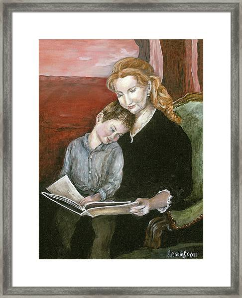 Mother Reading To Son Framed Print