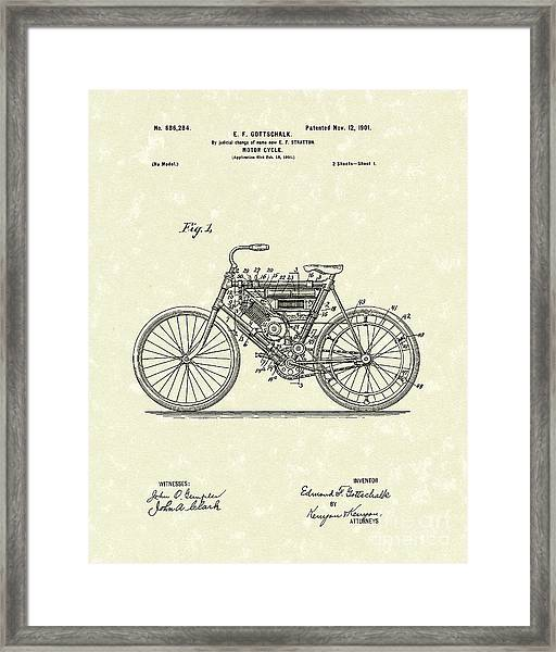Motorcycle 1901 Patent Art Framed Print
