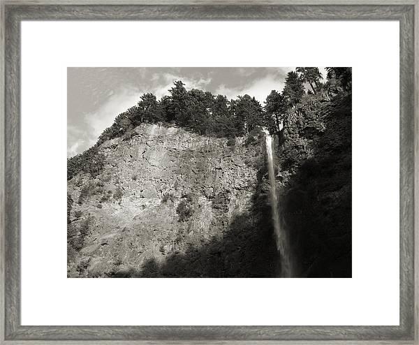 Multnomah Falls Cliff Face Framed Print
