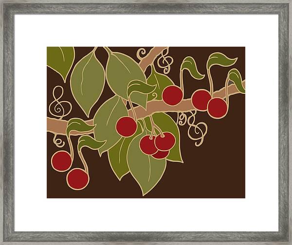 Musical Cherries Rectangle Framed Print