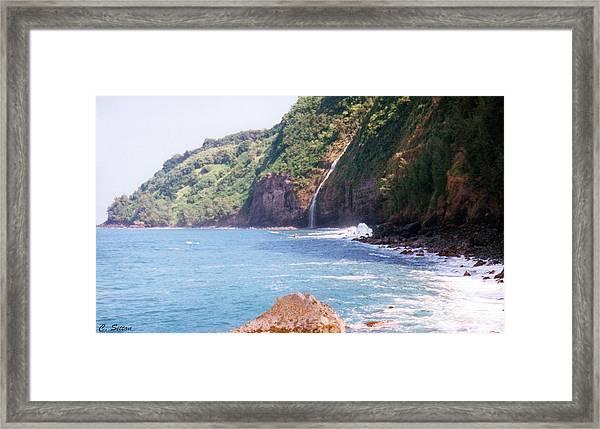 Na Pali Coast Waterfall Framed Print