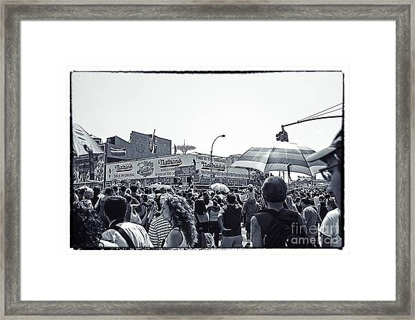 Nathan's Crowd In Coney Island 1 Framed Print