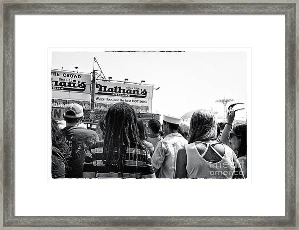 Nathan's Crowd In Coney Island 2 Framed Print