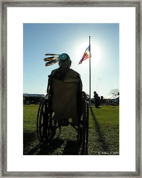 Native American Veteran In Wheel Chair Framed Print