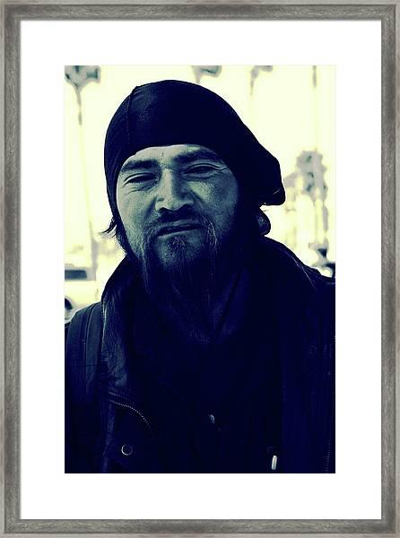 Framed Print featuring the photograph Navy Blue Man by Lorraine Devon Wilke