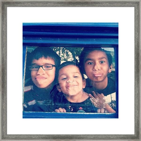 Neighborhood Boys In #vw #bus #vanlife Framed Print