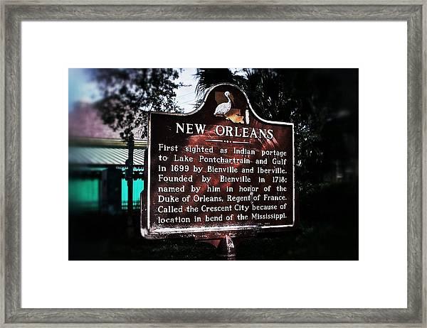 New Orleans History Marker Framed Print