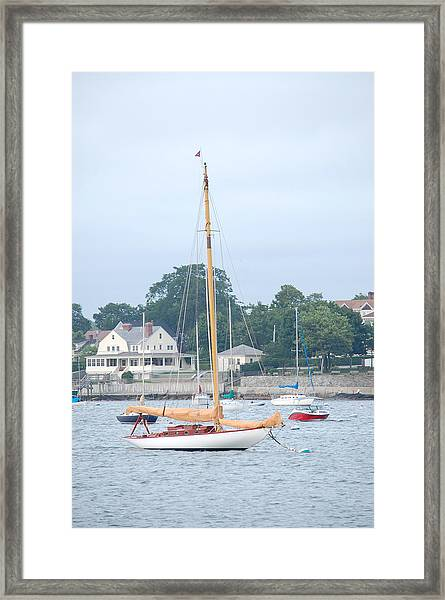 Newport Ri Wooden Sailboat Framed Print