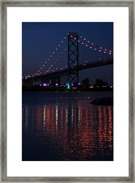 Night Reflections-detroit River Framed Print
