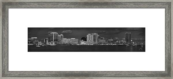 Framed Print featuring the photograph Norfolk Waterfront Bw by Williams-Cairns Photography LLC