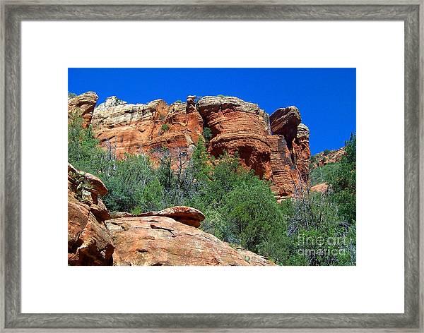 Oak Creek Canyon Balanced Rock Framed Print