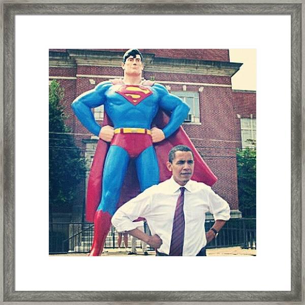 #obama And His #superman #alter-ego Framed Print
