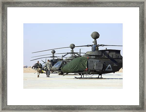 Oh-58d Kiowa Warrior Helicopters Parked Framed Print