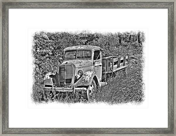 Framed Print featuring the photograph Old Ford Flatbed Bw by William Havle