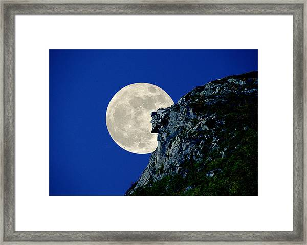 Old Man Meets The Man In The Moon Framed Print