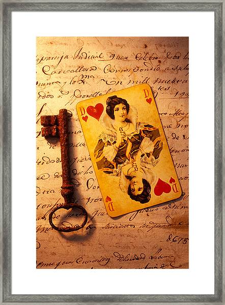 Old Playing Card And Key Framed Print