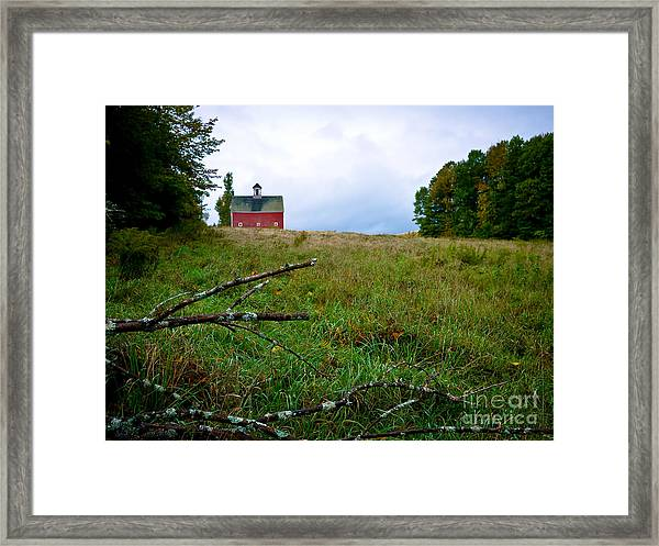 Old Red Barn On The Hill Framed Print