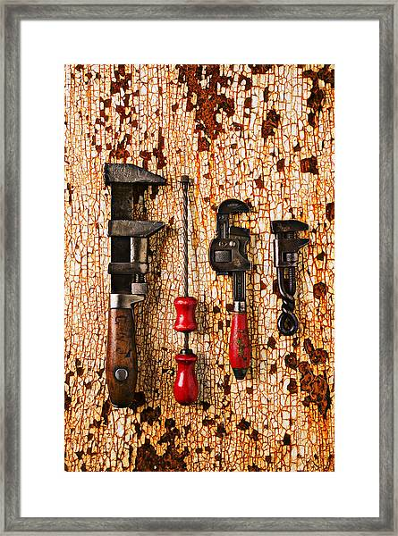 Old Tools On Rusty Counter  Framed Print