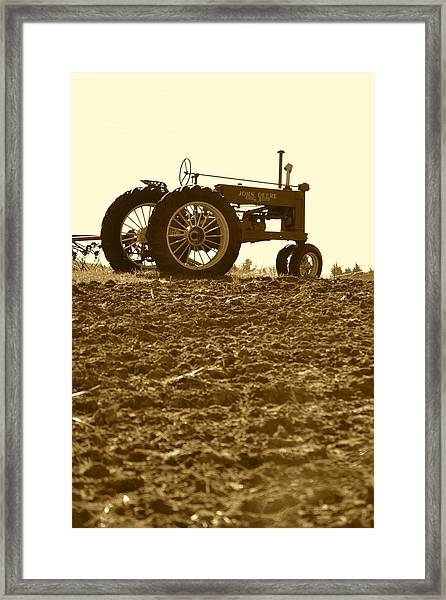 Old Tractor I In Sepia Framed Print