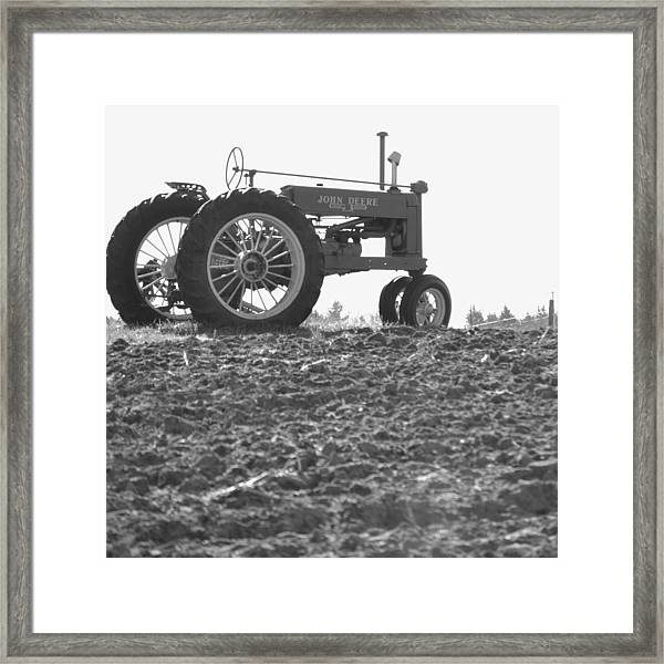 Old Tractor II In Black-and-white Framed Print
