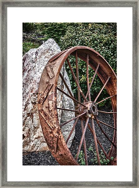 Old Tractor Wheel Framed Print