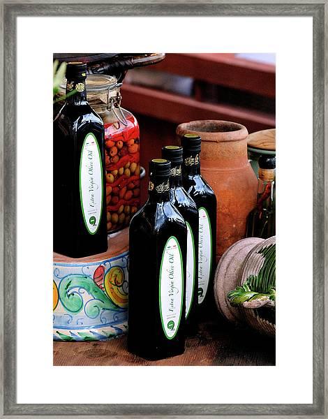Olives And Olive Oil Framed Print