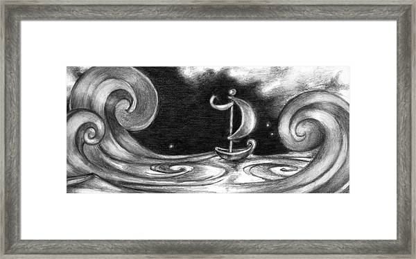 On A Boat  Framed Print